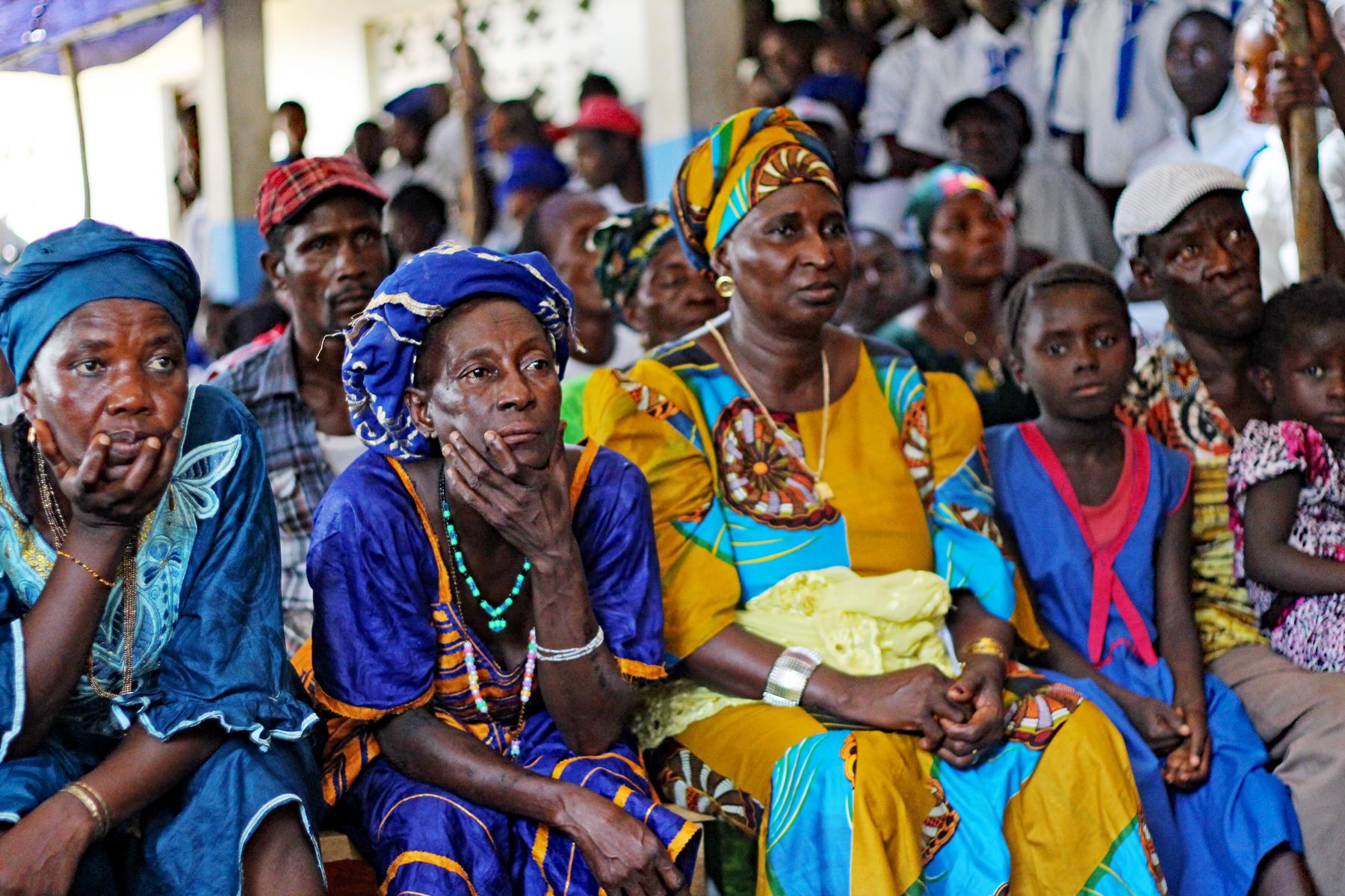 Die Bewohner*innen der Gemeinde Musaya bei einem Treffen mit Vertreter*innen des Forikolo e.V. im November 2016
